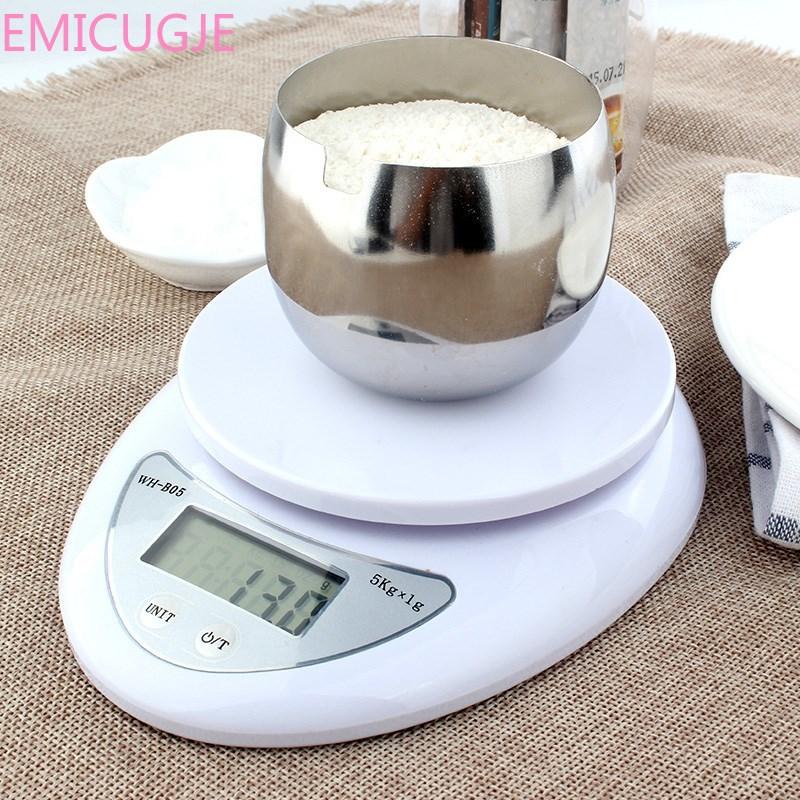 Кухонные 5000 г/1 г 5 кг пищевая диета почтовые Кухонные весы для измерения баланса светодиодные электронные весы title=