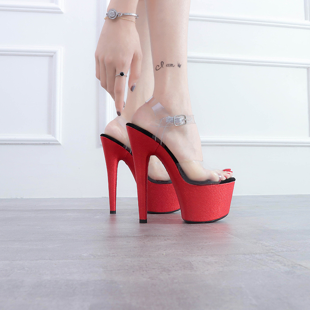 8fc5d691e32c Leecabe New RED covered heels Women s Platform Sandals Pole Dancing Shoes 7  Inch High Heels Shoes