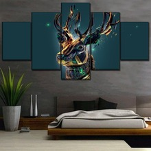 Canvas Picture Home Decor 5 Piece Fantasy Deer Artistic Animal Poster Modern Wall Art HD Printing Type Painting Framework
