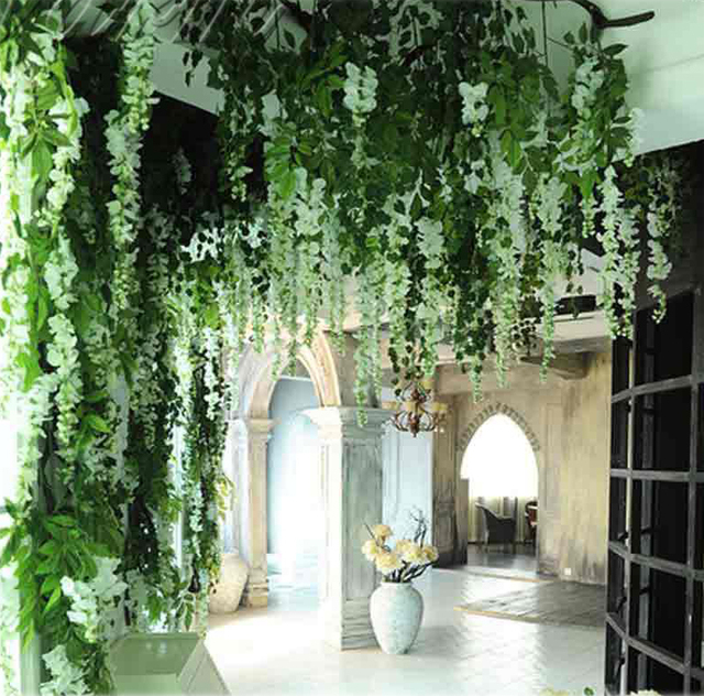 Romantic Garden Wedding Ideas In Bloom: 6pcs Romantic Silk Wisteria Artificial Hanging Flowers