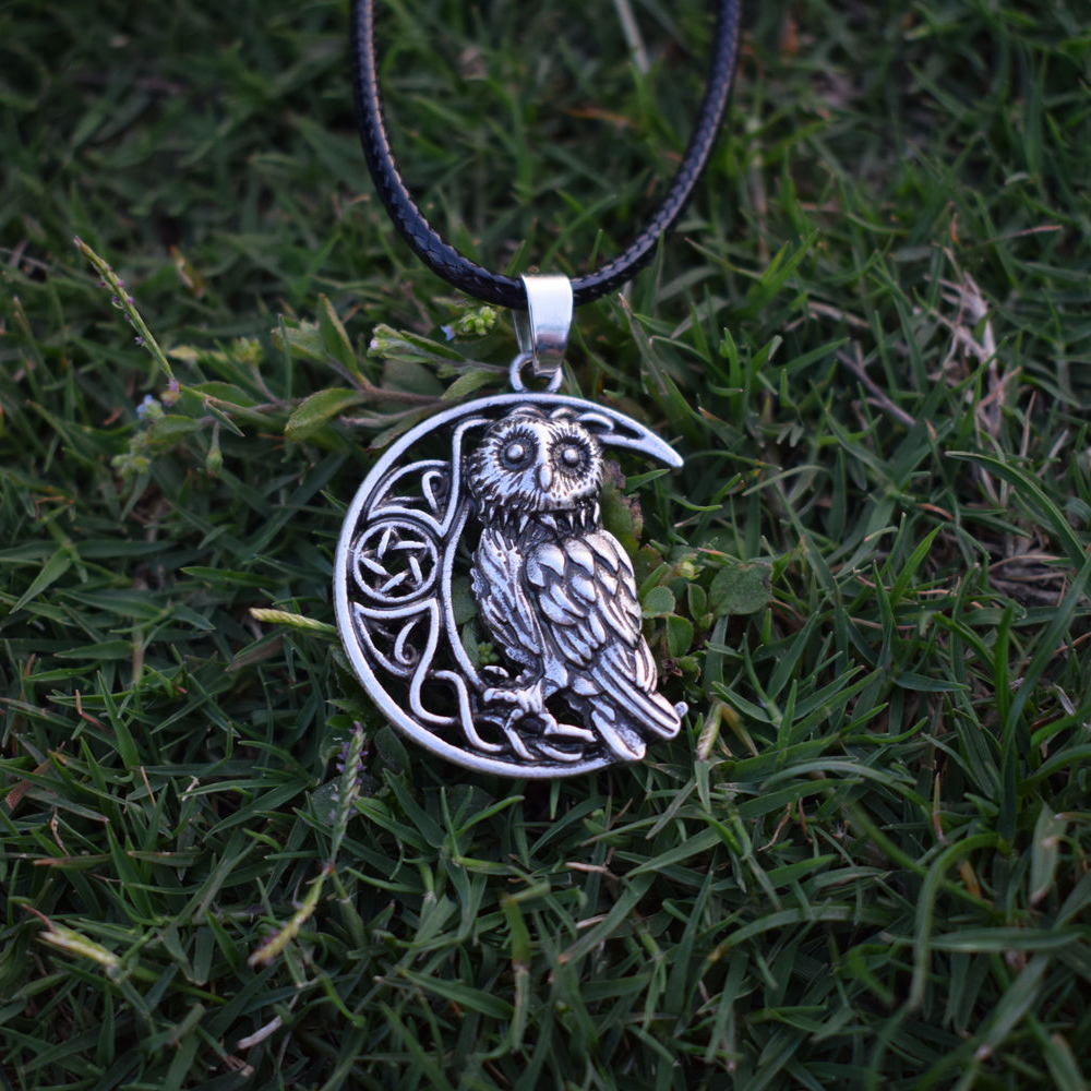 US $3 39 15% OFF|Owl Goddess Crescent Moon Pendant Wicca Celtic Pagan  Amulet Talisman Occult Magick Athena Wisdom Knowledge SanLan Jewelry-in  Chain