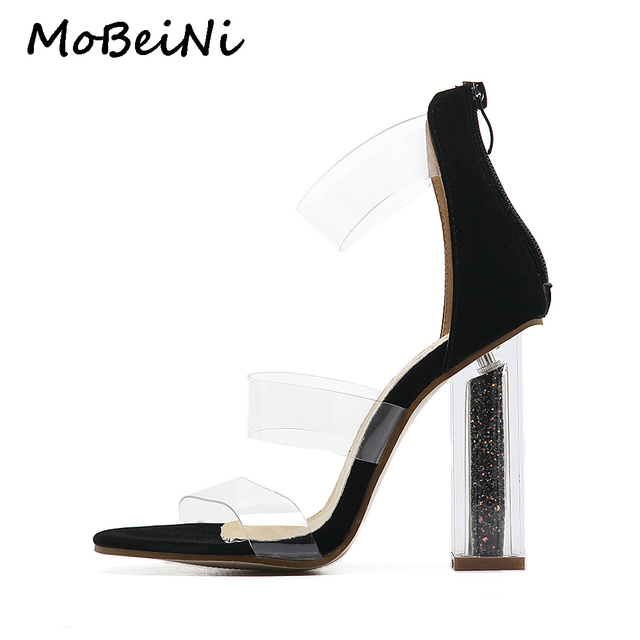 5ac991c8901 Women Gladiator Roman Sandals PVC Clear Transparent Strappy Ankle Strap  Crystal Block High Heel Pumps Wedding Party Shoes Woman