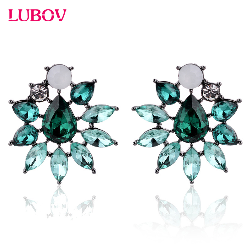 Colorful Acrylic Stone Flower Stud Earrings Rhinestone Decoration font b Women b font Fashion Piercing Earrings