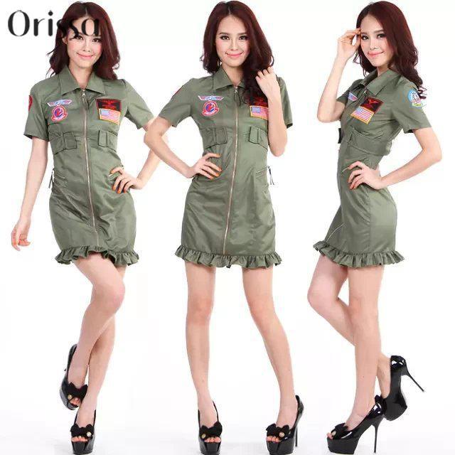 Top Gun mujer 80 s traje de piloto de la Armada de vuelo vestido piloto de  combate en Disfraces sexy de mujer de La novedad y de uso especial en ... 673a716c21bc