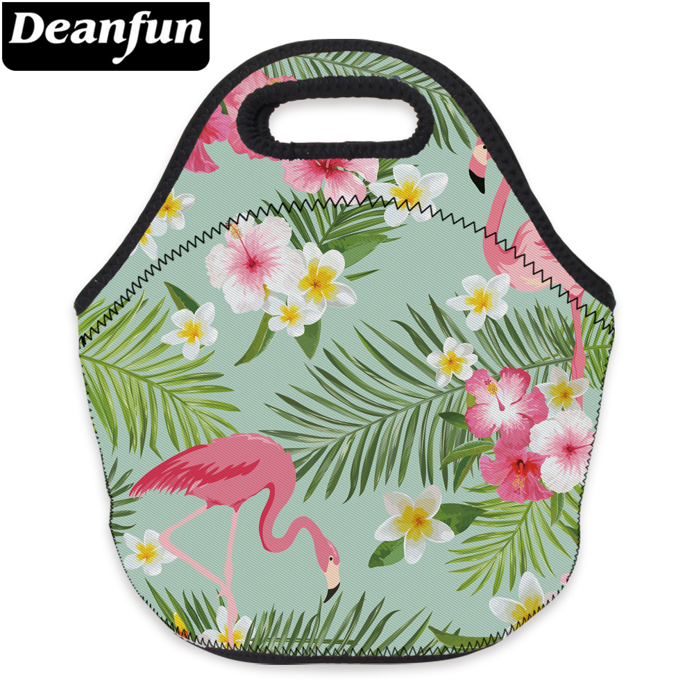 00d9cc2ad499 Deanfun 3D печатных обед мешок фламинго и цветок переносной для Picnik детские  школьные 73097