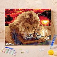 Frameless Colorful Lion Animals Lion Spouse Painting Diy Digital Paintng By Numbers Modern Wall Art Picture