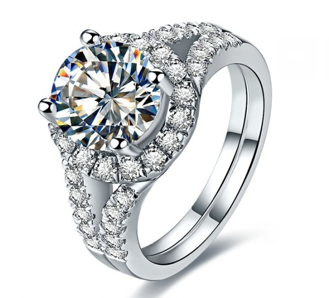 Valentine Gift 2ct Round Cut Luxury Simulate Diamond Ring Wedding G18k Au750 White Gold Jewelry