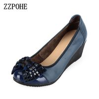 ZZPOHE 2017 Autumn New Women Fashion High Heels Woman Genuine Leather Wedge Single Shoes Women Work