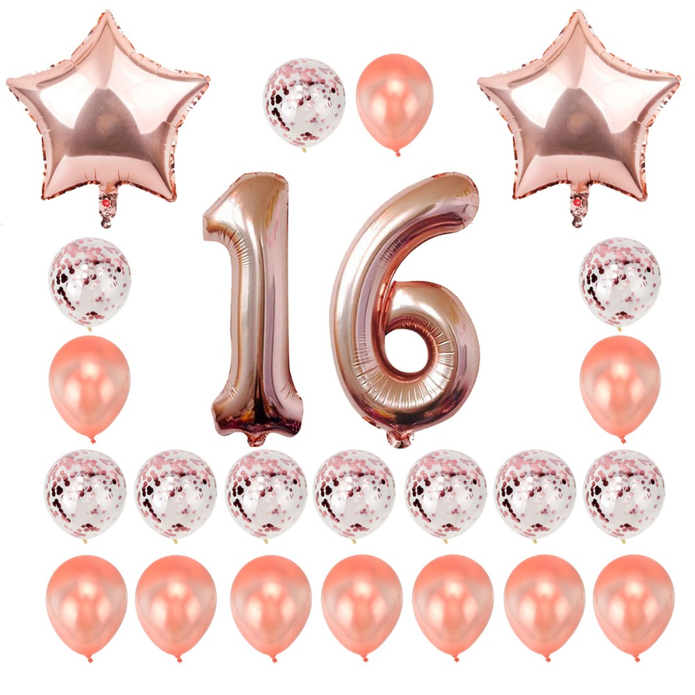 Lincaier 32inch 62cm Happy 16 Birthday Balloons Numbers Sweet 16th Years Party Decorations Man Girl Supplies In Ballons Accessories From Home Garden On