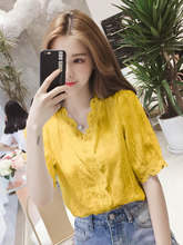 3XL Womens Blouses And Tops Korean Chiffon Solid Shirts V Neck Ladies For Women Summer Clothing