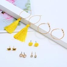 L&H 6Pairs Summer New Fashion Earrings Set Yellow Small Flower Earrings For Girls Bohemia Round Rhinestone/Pearl Stud Earrings недорого