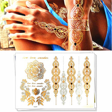 Style 1-25 Shiny Wedding Gold Temporary Tattoo Body Art Flash Tattoo Stickers, 21*15cm Waterproof Tatoo Sex Product Henna Tatto