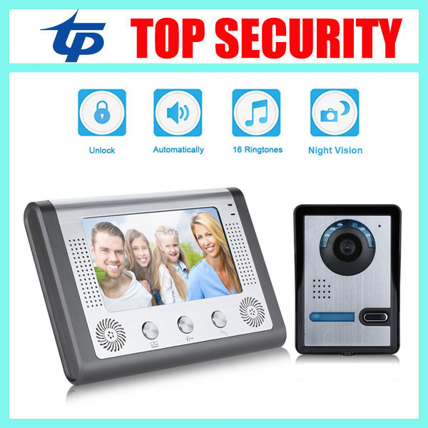 7 TFT color screen 16 songs 420TVL IR camera door access control video door phone system wired door bell door intercom 7 inch password id card video door phone home access control system wired video intercome door bell