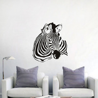 DCTOP Laying Down Zebra Vinyl Wall Sticker For Living Room Decoration Funny Wall Decal