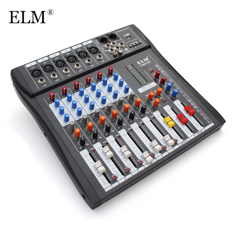 ELM 6 Channel Karaoke Audio Sound Mixer Controller Professional Mixing Amplifier Console With USB 48V Microphone Phantom Power mini portable audio mixer with usb dj sound mixing console mp3 jack 4 channel karaoke 48v amplifier for karaoke ktv match party