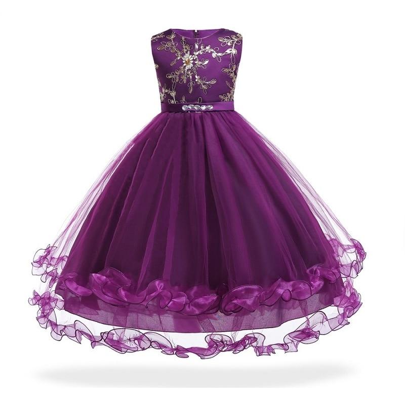 3-14 year Kids Girls Wedding Flower Girl Dress embroidery Princess Pageant Formal Vestido Sleeveless Tulle long party dress