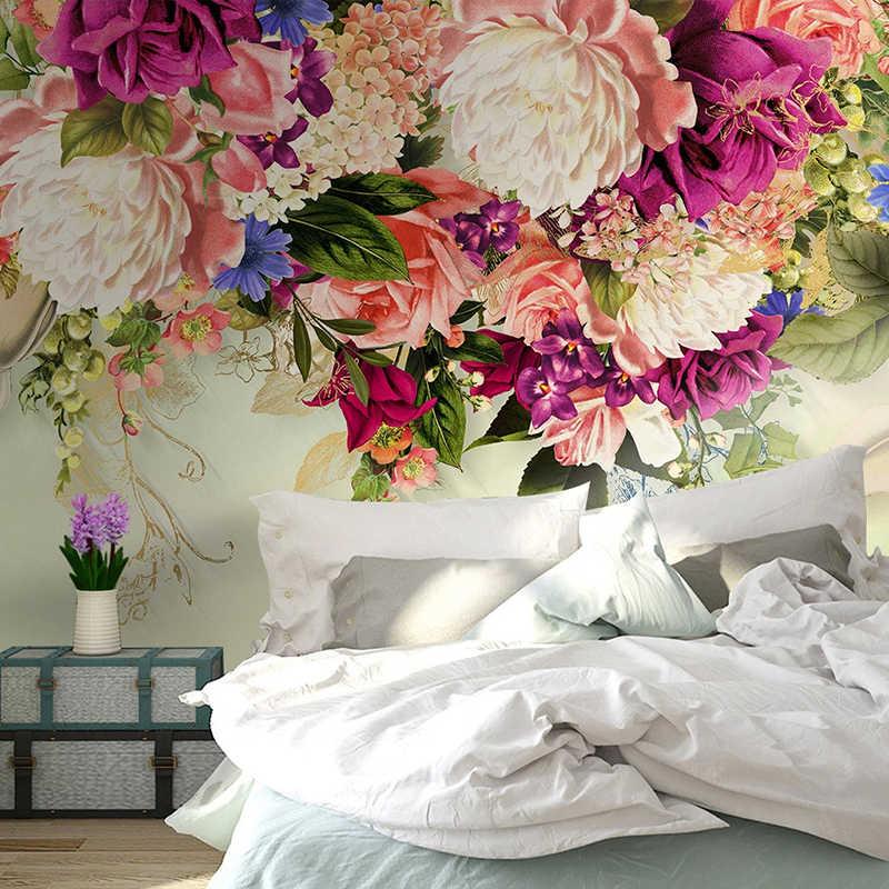 Custom 3D วอลล์เปเปอร์โมเดิร์น Retro ดอกไม้ภาพจิตรกรรมฝาผนัง Decals ผนังห้องนั่งเล่นโซฟาพื้นหลังห้องนอนตกแต่งภาพวาด