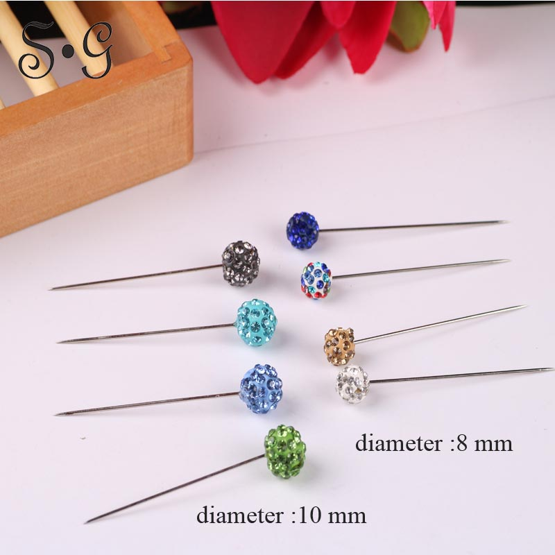 2 pcs 8mm diameter rhinestone brooch pin Safety Pin Crystal Brooches ball Arabic Muslim Hijab Brooches Pin Jewelry Accessories