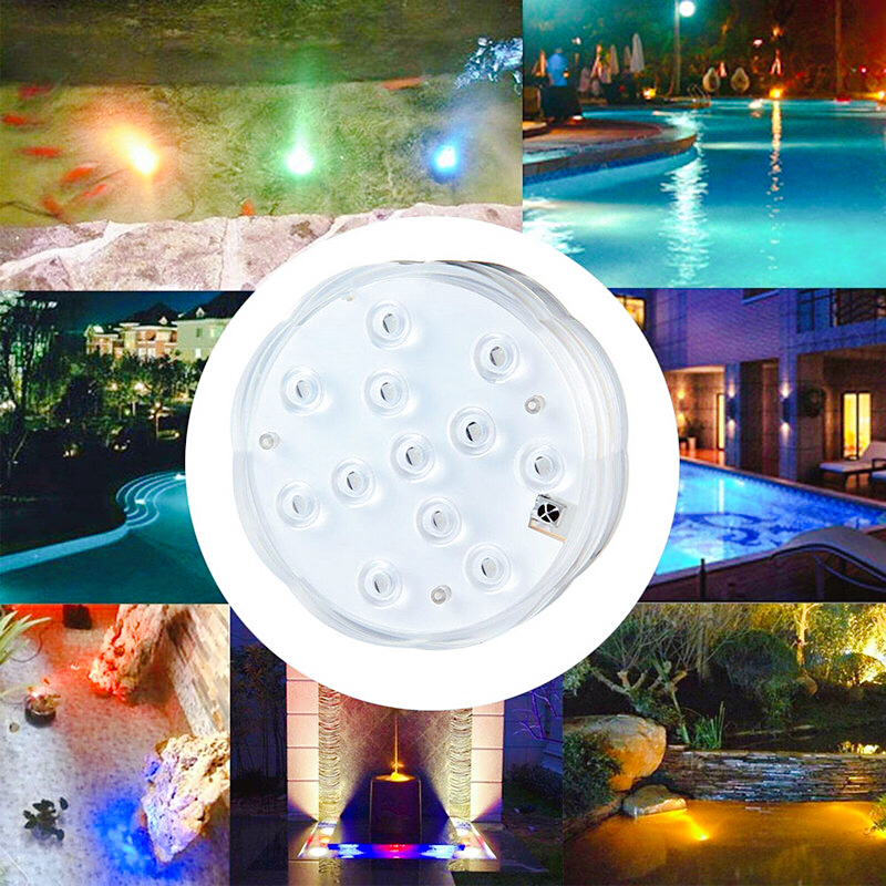 12Led Remote Controlled RGB Submersible Light Battery Operated Underwater Night Lamp Vase Bowl Fish Tank Garden Party Decoration