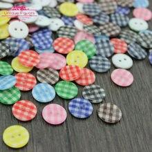 300pcs 13mm Tartan Painting Resin Buttons Scottish Lattice 2 hole Flat Back Sewing Buttons DIY Craft