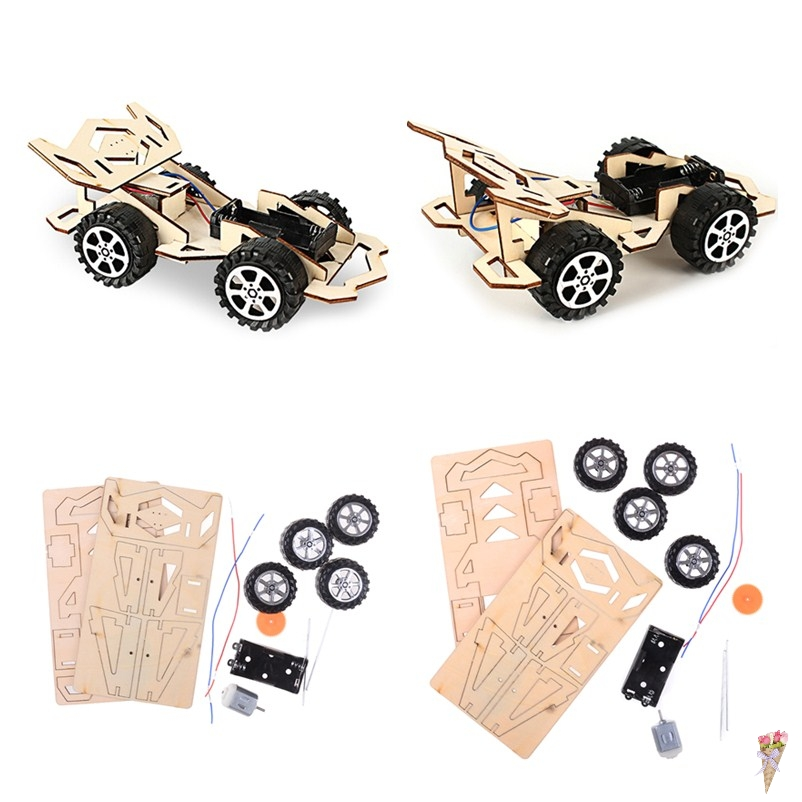 DIY Gear Drive Mechanical Model Building Kits Assembly Toy Gift Interactive Educational Toy for Children Wood Assembly Car Toys