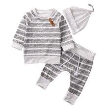Хлопковые топы с длинными рукавами, футболки в полоску, штаны, шапка, комплект одежды из 3 предметов, комплект одежды для маленьких мальчиков и девочек