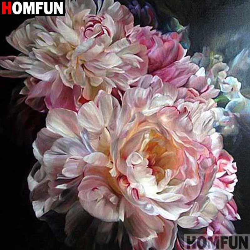 HOMFUN, taladro completo cuadrado/redondo, pintura de diamante DIY 5D, punto de cruz bordado de paisaje de flores, punto de cruz 5D, regalo para decoración del hogar A17861