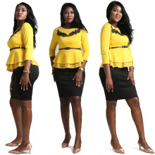 African Women's Plus Size Clothing Yellow Ruffled Hem Bundle Waist Top Black Skirt Elegant Ladies Set недорого