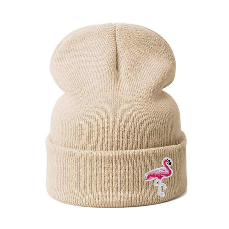 قبعات شتوية للسيدات على شكل طائر الفلامنغو قبعات شتوية منسوجة قبعات شتوية دافئة سميكة قبعات للسيدات قبعات بناتية