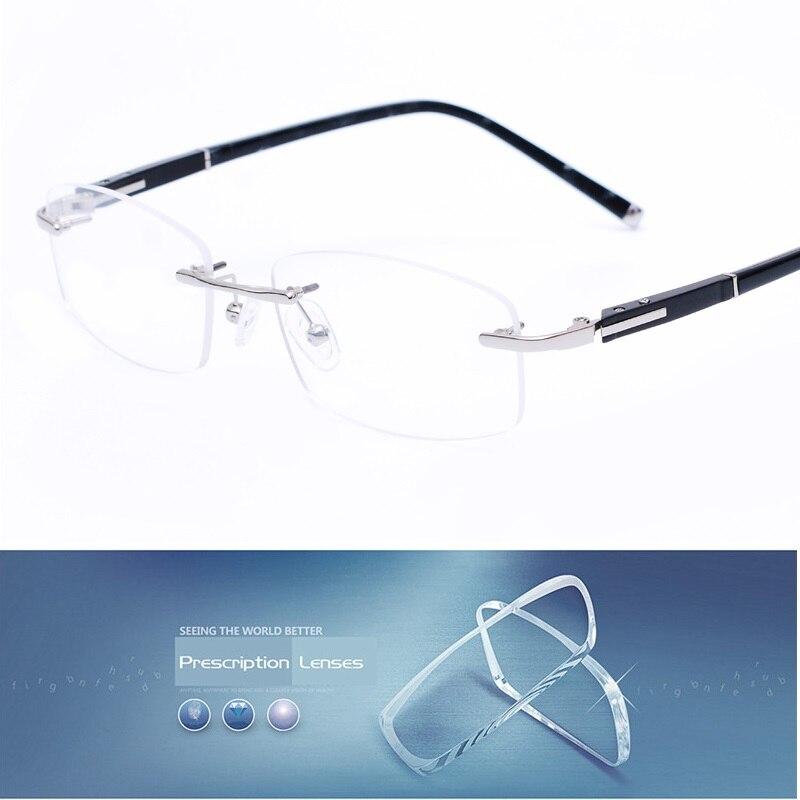 Vazrobe Rimless Gray Mens Glasses Frame Spectacles for Man Prescription Optical Lens Frameless Eyeglass (can Mount Lens You Need