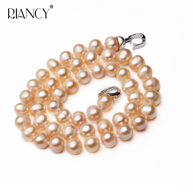 Natural freshwater pink pearl necklace for wedding white pearl necklace 925 sterling silver jewelry for girl birthday gifts