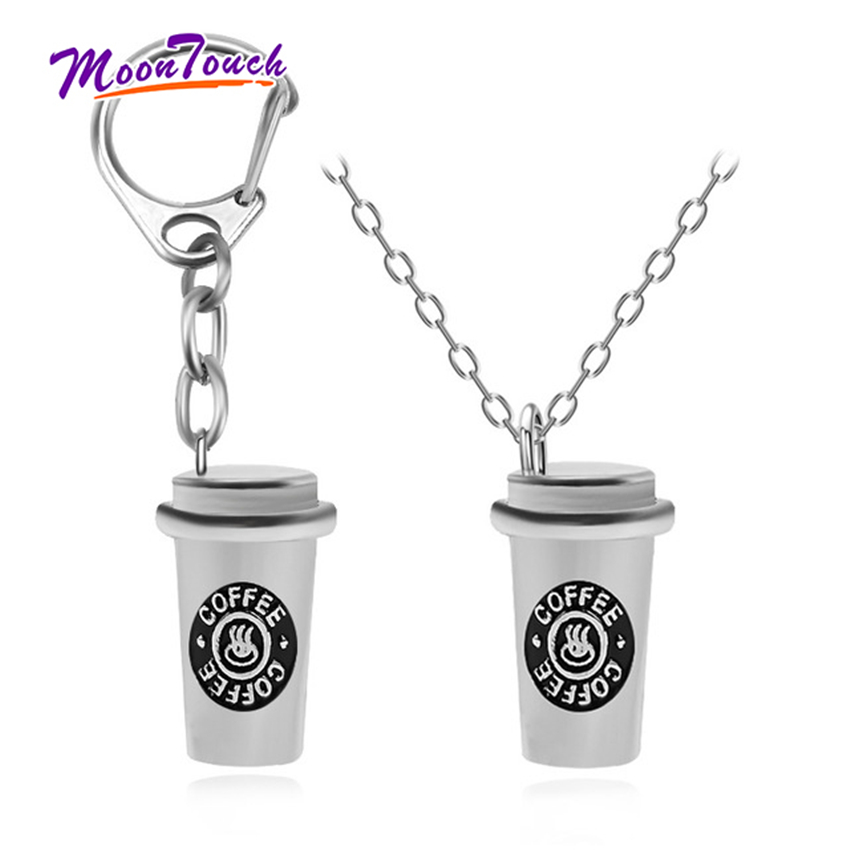 Couple Espresso Coffee Keychain Accessories Stainless Steel Cafe Cup Pendant Necklace Gift For Coffee Lovers 3D Decoration