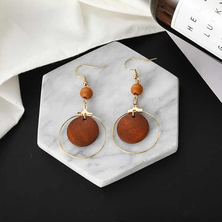 New Japanese style wooden bead earrings with simple style