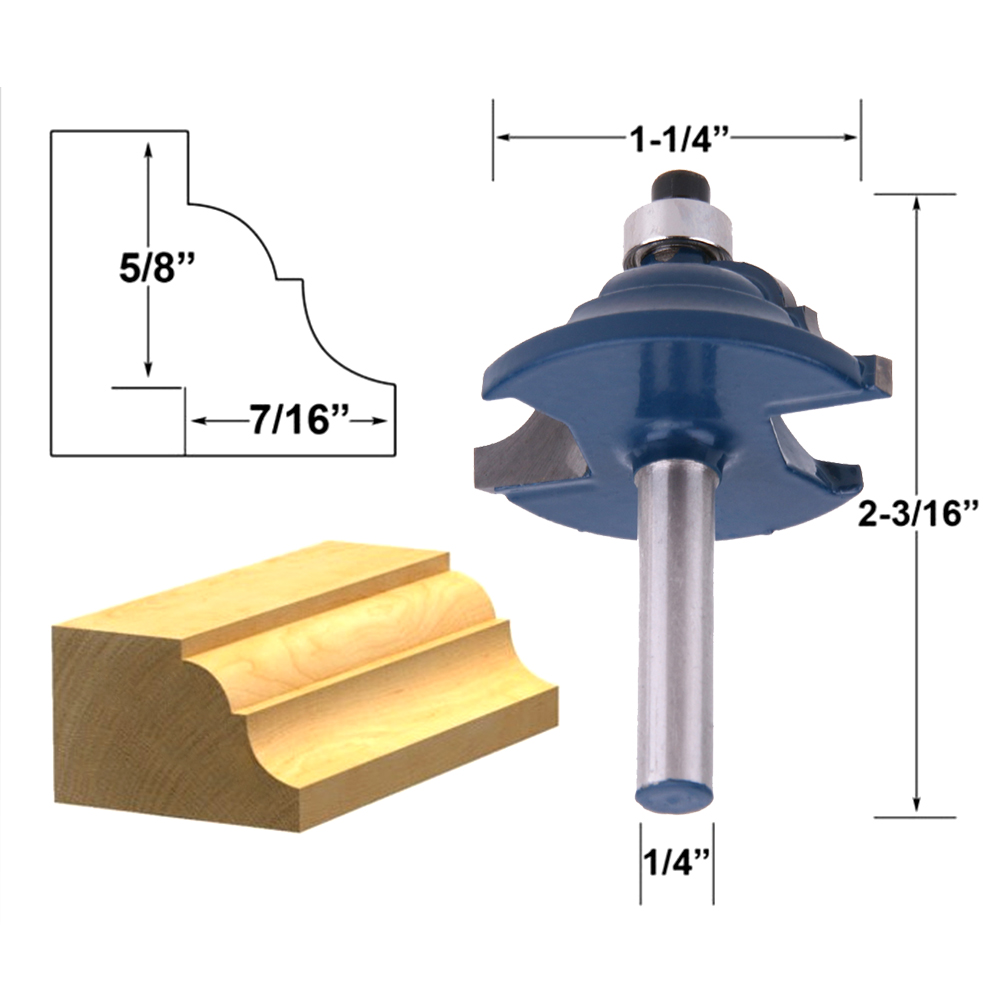 1/4'' Solid Hardened Steel Shank Double Ogee Edging Molding Router Bit Medium Milling Cutter Woodworking Tool High Quality high grade carbide alloy 1 2 shank 2 1 4 dia bottom cleaning router bit woodworking milling cutter for mdf wood 55mm mayitr