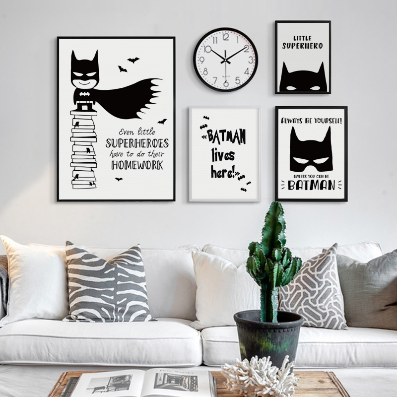 07G Black and White Simple DC Anime Hero Batman A4 A3 Canvas Art Painting Print Poster Picture Wall Childrens Baby Room Decor
