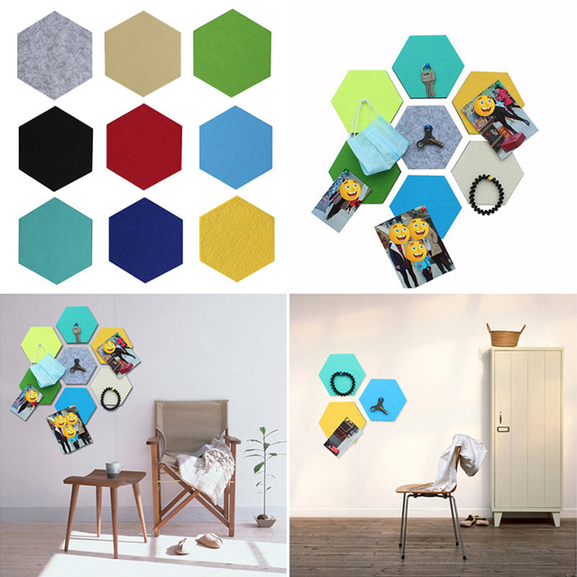 Wall File Storage Hexagonal Message Board Creative Felt Wall Hanging Storage  Intelligence In Multicolor 7A2036