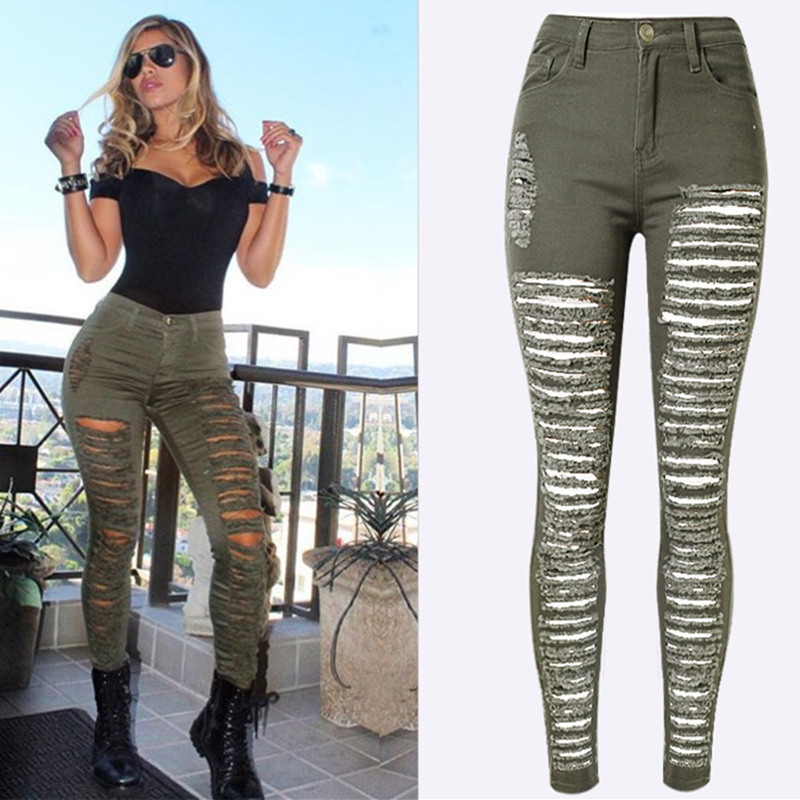 Fashion Hole jeans woman Pencil Pants ripped jeans for women jeans mujer femme Skinny jean pants high waist