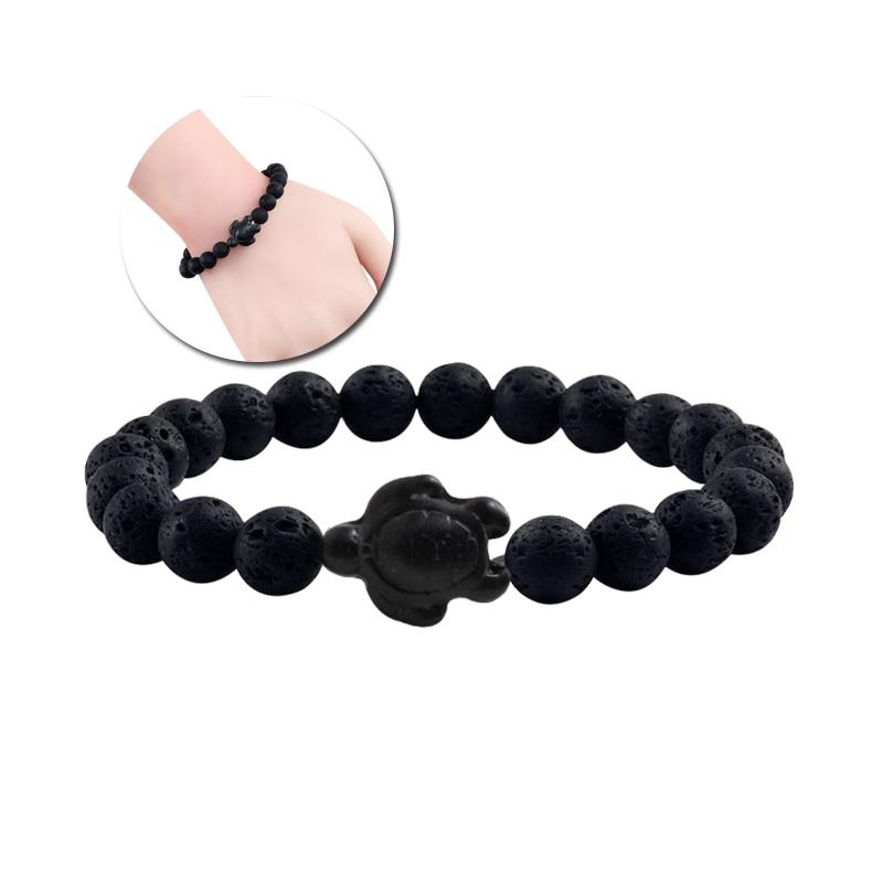Summer Beach Sea Turtle Beads Bracelet for Men Charm Black Lava Natural Stone Strand Bracelets Elastic Women Boho Jewelry Gifts 1