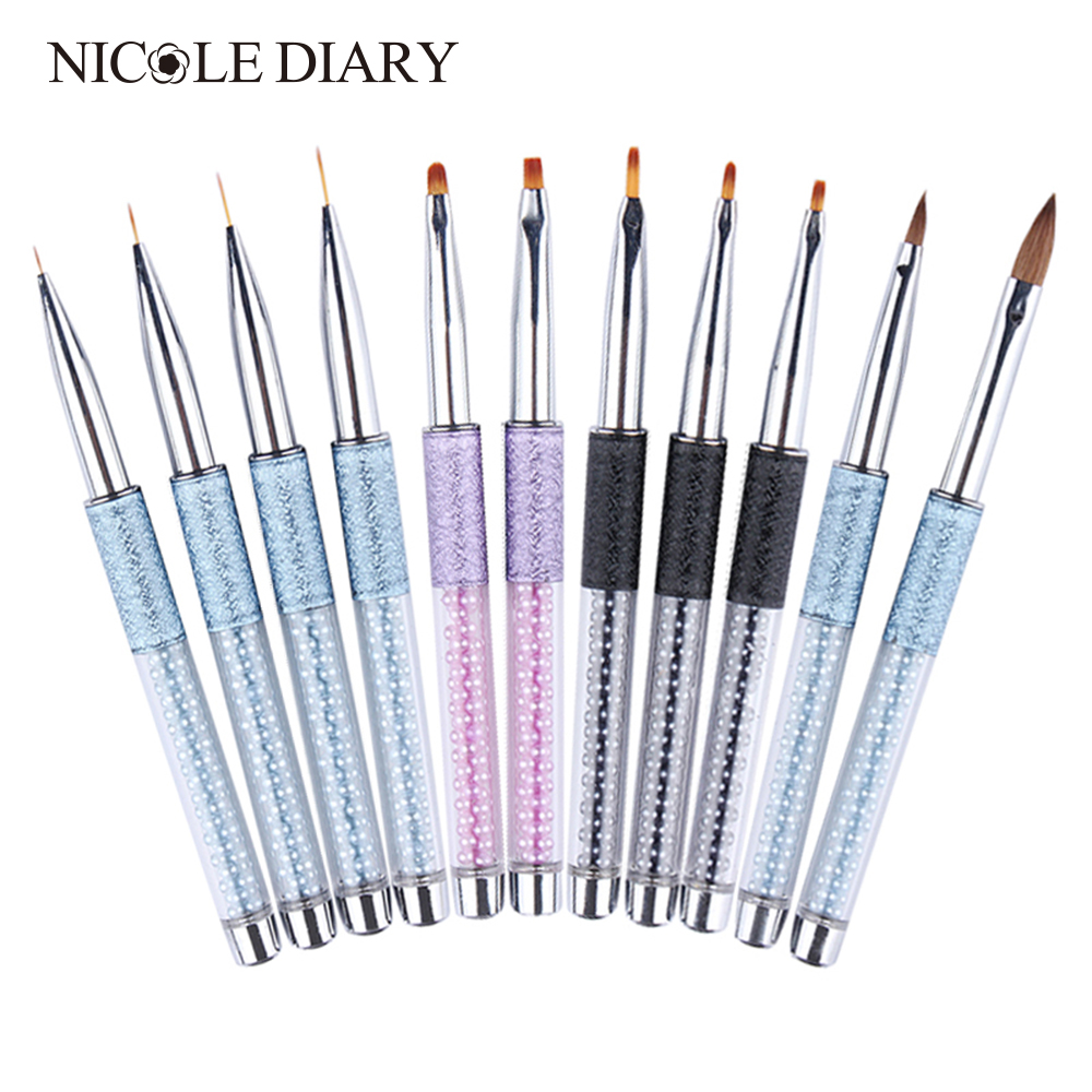 Multi Sets of Gradient Painting Pen Carving Liner Paint Drawing Brushes Kit Rhinestone Handle Manicure Nail Art Tool