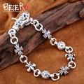 Beier new store100% 925 silver sterling bracelets bangles for women/men high polish hand chain fine jewelry SCTYSL0192