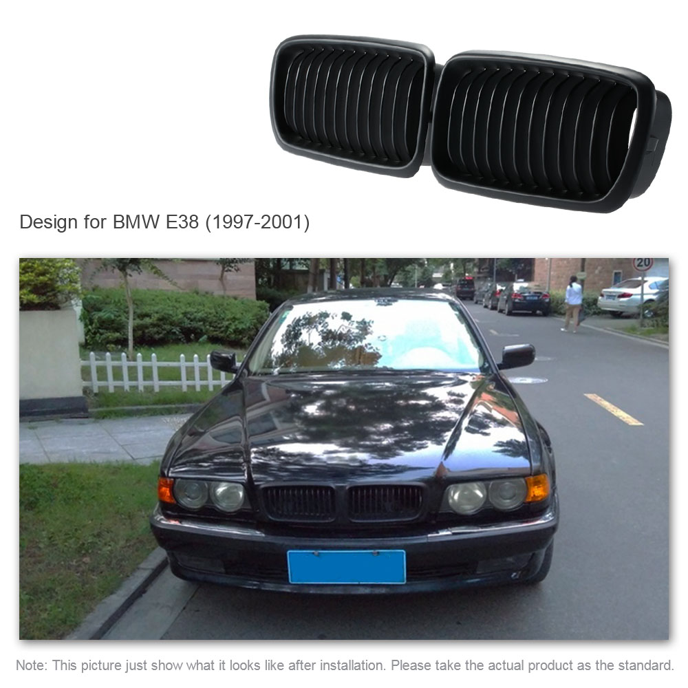 Car Style One Pair Front Center Wide Kidney Hood Grilles Matt Black Grill for BMW E38 1997 1998 1999 2000 2001 for Cars 1 pair gloss black m color front bumper center kidney grilles for bmw x3 f25 2011 2012 2013 2014 racing grills