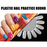 10Pcs Nail Art Fake Nail Tips Hybrid Varnish Color Card Practice Transparent Round False Nail Palette For Nails Manicure Tool