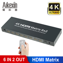 Aikexin HDMI Matrix Switch,6 x 2 HD 4K HDMI Switcher with Audio Extractor Function, 3D, SPDIF or 3.5mm Audio Output Supported