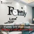 'Family' большие часы настенные современный дизайн немой стикер стены diy часы 3D гостиная кварцевый декор дома висит настенные часы бесплатная д...