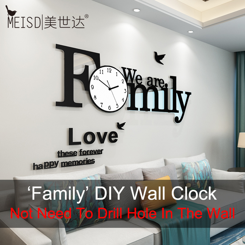 'Family' Large Wall Clock Modern Design Silent Wall Sticker Diy Clock 3D Living Room Quartz Home Decor Horloge Free Shipping