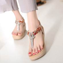 Summer women's sandals 2019 new national bohemian rhinestone wedges fashion casual large size shoes