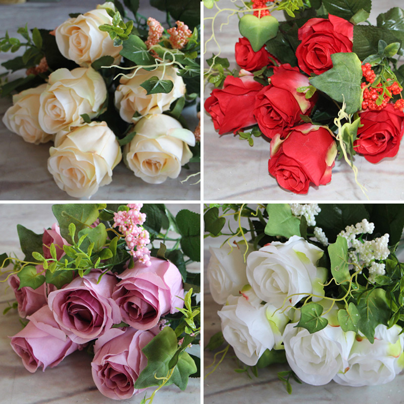New Charming Beautiful Pretty Artificial Fake 9 Heads Spring Rose Flowers Floral Home Hotel Party Decor