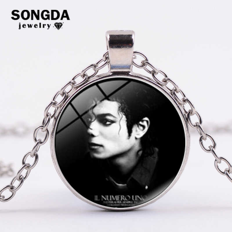 SONGDA New Arrived Classic Michael Jackson Necklace Statement MJ King Of Pop Art Photo Glass Cabochon Chain Necklace Souvenirs