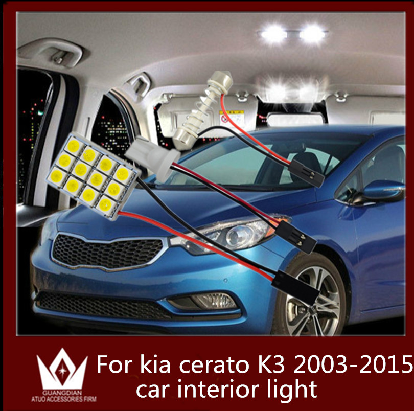 GuangDian auto led interior light dome vanity light glove step trunk cargo lamp 12V T10 festoon BA9S for Kia Cerato K3 2003-2015