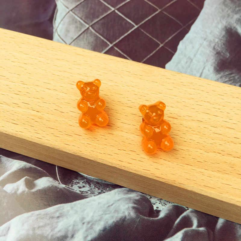 Прекрасный ручной Цвет Фул Ins Стиль Носки с рисунком медведя из мультика серьги Конфета из смолы Цвет серьги с животными для друга повседневные забавные ювелирные изделия